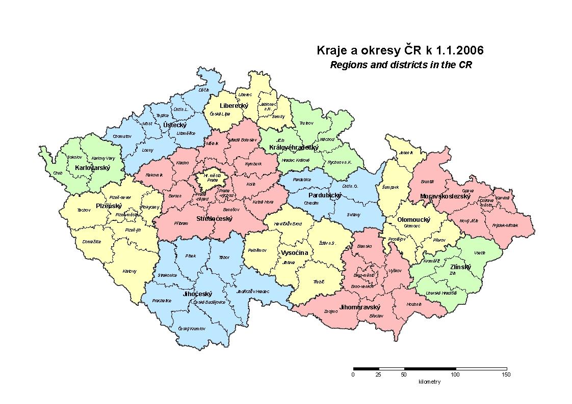Mapa Kraju Cr Mapa Cr Ceske Republiky