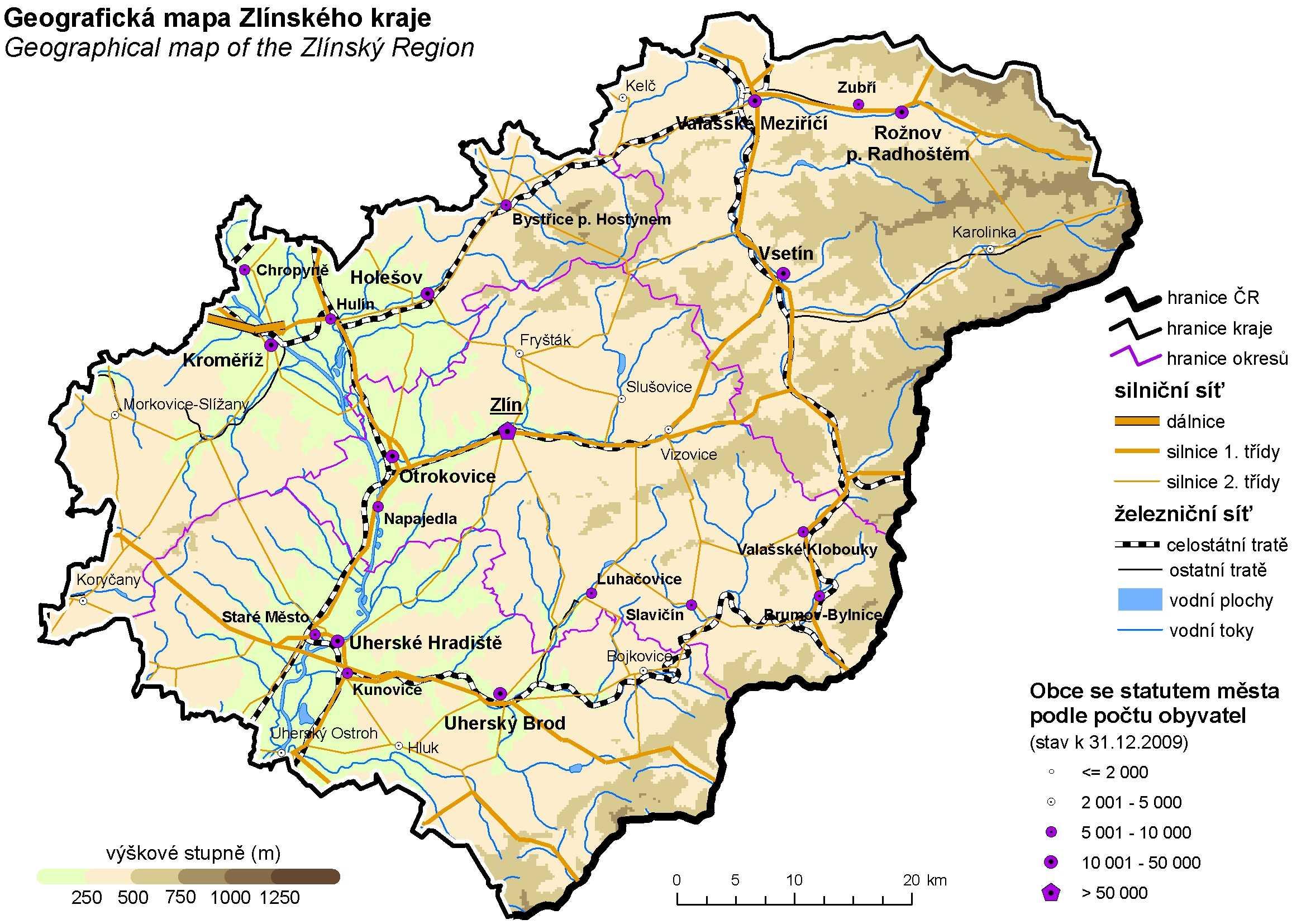 c2520ec3cf1 Geografická mapa Zlínského kraje ...