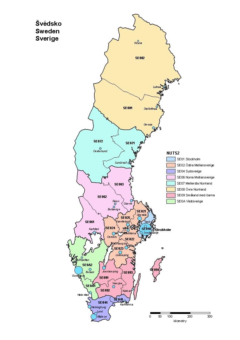Sweden CZSO - Sweden map regions